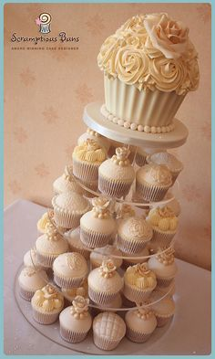 Vintage Ivory Cupcake Tower by Scrumptious Buns (Samantha), via Flickr