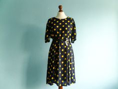 Vintage black yellow polka dot dress / casual day by moonandsoda, $35.00