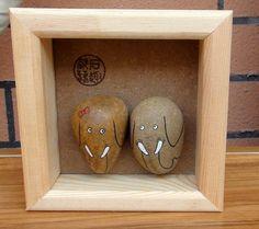 Elephant Couple Hand Painted Pebble Stone