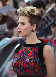 'The Avengers: Age Of Ultron'  European Premiere, Scarlett Johansson's hair and makeup are spot on!