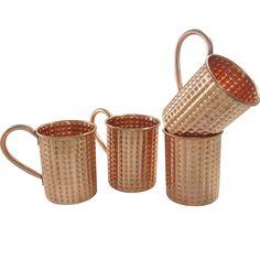 Amazon.com: DakshCraft ® Handamde Copper Moscow Mule Diamond Cut Cocktail Mugs, Set of 4 - Capacity 15.89 oz per mug: Kitchen & Dining