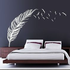 Left right flying feather wall stickers home decor adesivo de parede home decoration wallpaper wall art sticker PVC vinyl decals Wall Stickers Birds, Large Wall Stickers, Removable Wall Stickers, Wall Stickers Home Decor, Wall Decals For Bedroom, Living Room Wall Stickers, Kitchen Wall Decals, Bird Wall Decals, Craft Stickers