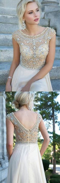 Boat Neck Cap Sleeves Beads Chiffon Long Evening Dress,Cheap Prom Dress,Long Formal Women Prom Dresses,Sexy Backless Dress