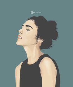 Portrait Illustration, Illustration Girl, Digital Illustration, Sad Anime Girl, Anime Art Girl, Vector Portrait, Portrait Art, Character Design Animation, Character Art