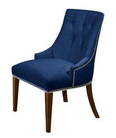 Navy Velvet Chair | blue velvet chairs | blue velvet chair with nailhead trim | For the ...