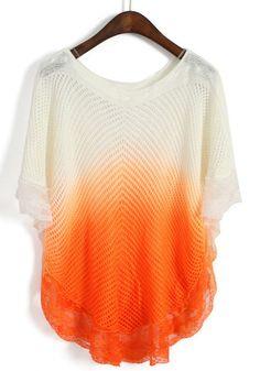 Orange Gradient Hollow Batwing Half Sleeve Sweater - Sheinside.com