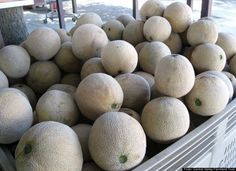 Cantaloupe - A ripe cantaloupe will feel heavy and smell sweet. (If the cantelope smells overly sweet chances are it's overripe.) The most dependable sign of a cantaloupe's ripeness is to slightly push at the stem end; if it gives a bit when it's ready to eat.