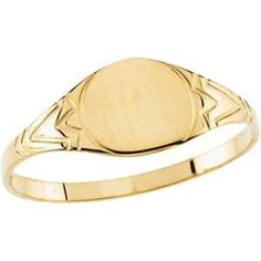 Jewelryweb 14k Yellow Gold Childrens Round Signet Ring 6mm - size 3