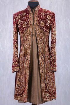 Maroon & Brown Velvet Stone Embroidered Wedding Sherwani-SH378 Indian Groom Dress, Wedding Dresses Men Indian, Wedding Dress Men, Indian Gowns, Indian Outfits, Indian Weddings, Wedding Couples, Mens Sherwani, Kurta Men