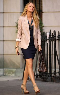 Boyfriend blazer over complimentary dress. Love the whole outfit. Would work for a casual event (not too dressed up).