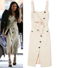 Altuzarra  Audrey  Pinstriped Pinafore Trench Dress as seen on Meghan  Markle Meghan Markle Dress b652f1303
