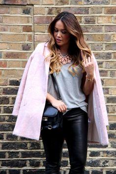 Topshop pink mohair coat + Leather leggings