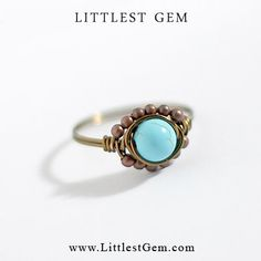 Boho Turquoise Ring unique rings wire wrapped by littlestgem, clothes, clothing, girl, girls, women, lady, outfit, accessories, jewelry, fashion, bling, gold, clear crystal, bling ring, hipster ring, boho ring, indie ring, hipster jewelry, jewellery, modern jewelry, minimalist, wedding, prom, party, club