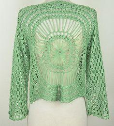 Aris A: Hairpin Crochet Bolero Jacket, Back Crochet Shirt, Crochet Cardigan, Crochet Scarves, Crochet Clothes, Crochet Hooks, Crochet Summer Hats, Easy Crochet, Crochet Top, Caron Yarn