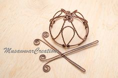 Antique Copper bun cage hair bun holderhair by MusawwarCreation