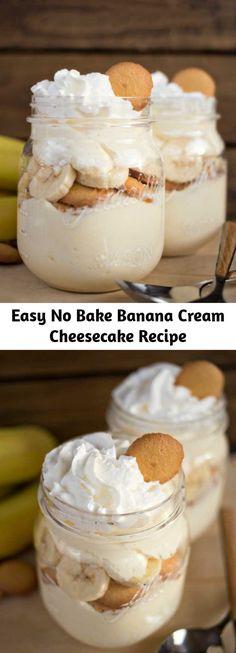 Cheesecake Deserts, Banana Cream Cheesecake, Cheesecake Recipes, No Cook Desserts, Easy Desserts, Delicious Desserts, Dessert Recipes, Yummy Food, Recipes Using Bananas