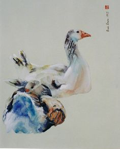 Brian  Baxter: Resting Geese Rooster, Birds, Artist, Painting, Animals, Animales, Animaux, Bird, Artists