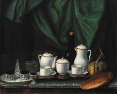 A salt cellar and an egg cup, a coffee set with a wine bottle, a melon and bread on a marble topped table Claude-Joseph Fraichot (Bescançon 1727-1779)