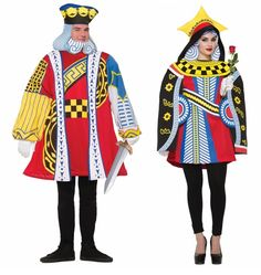 Adult King and Queen of Hearts Playing Card Couples Costumes - Mardi Gras  Steal the show by jumping right out of the game with these adult King and Queen of Hearts Playing Card Costumes.  Put on that poker face and get ready to join the game.