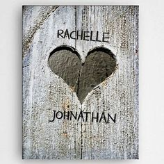 Personalized Hand-Carved Heart Canvas