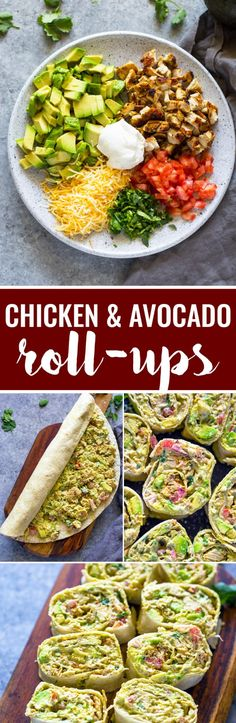 Healthy quick tortilla roll-ups loaded with grilled chicken, avocado, cheese, tomato and sour-cream. These tasty chicken avocado roll ups are packed full of flavor and make a great appetizer or snack and are a great way to use up leftover chicken! I Love Food, Good Food, Yummy Food, Yummy Eats, Yummy Lunch, Healthy Snacks, Healthy Eating, Healthy Recipes, Delicious Recipes
