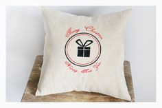 Merry Christmas  Embroidered Christmas pillow cover by KoTshop, $25.00