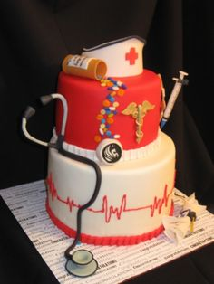 Nurse's graduation cake..... I want like this when I graduate med school!!!!