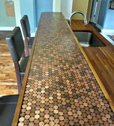 penny tiled dining table