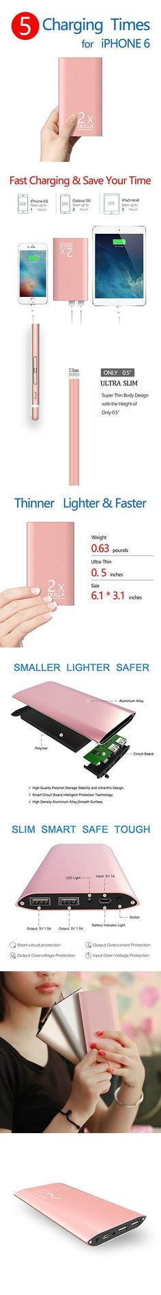 DULLA M50000 Portable Power Bank 12000mAh External Battery Charger, Ultra Slim Design with 2 USB Ports for iPhone7 7Plus 6s 6 Plus, iPad, Samsung Galaxy and More(rose gold)
