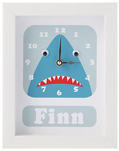 Stripey Cats Personalised Shark Framed Clock, 23 x 18cm, Blue