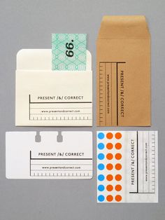 Present and Correct business 'cards'; won't go in a wallet but will house bits, fit into a Rolodex or let you stick dots on stuff! Collateral Design, Corporate Design, Graphic Design Typography, Identity Design, Brand Identity, Print Packaging, Packaging Design, Envelope Labels, Envelopes