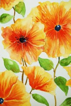 Watercolor step-by-step : Orange Flowers Tutorial Part 2: Stems and Leaves