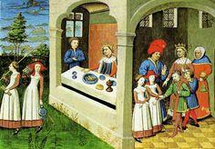 Decameron. 1430-40. 15th Century Clothing, Giovanni Boccaccio, Francis I, Catherine Of Aragon, Medieval Life, Historical Images, Medieval Clothing, Spanish Style, Illuminated Manuscript