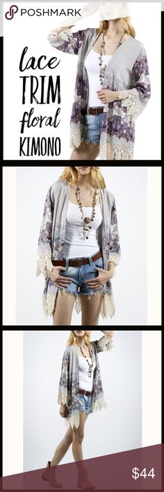 "Lace Trim Floral Kimono Lace Trim Floral Kimono.                                        Small:  shoulder-13 1/2"", bust-16"", waist-15 1/2"", length-29"" Med:    shoulder-14 1/2"", bust-17"", waist-16 1/2"", length-30"" Large:  shoulder-15 1/2"", bust-18"", waist-17 1/2"", length-30 1/2"".                                                          Fabric Content: 100% Rayon Boutique Other"