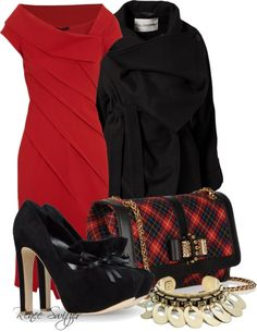 """Red Plaid"" by renee-switzer ❤ liked on Polyvore"