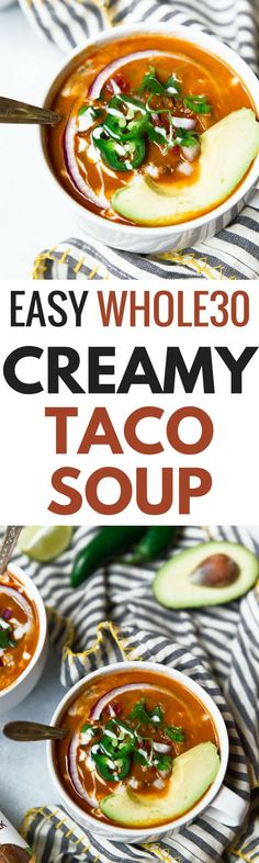 Easy Whole30 Taco Soup. This healthy whole30 taco soup is gluten free, dairy free, paleo and super quick to make. Whole 30 taco soup recipe. Crock pot, slow cooker, instant pot soup recipes. Quick whole30 dinners!x