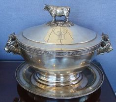 Figural Sterling Silver Covered Tureen with Bulls Museum Quality Heavy | eBay