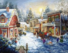Nicky Boehme, artist ~ winter village aglow ~ children ~ Christmas tree ~ horse~drawn wagon ~ snowman