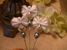 Shabby Chic Stick Pins Glass Beads Pearl Beads by IsabellaFransus, $12.00