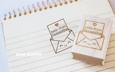 Personalized Rubber Stamp Kawaii Envelope por paperglitter en Etsy