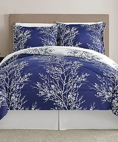 Another great find on #zulily! Navy & White Leaf Comforter Set by Victoria Classics #zulilyfinds