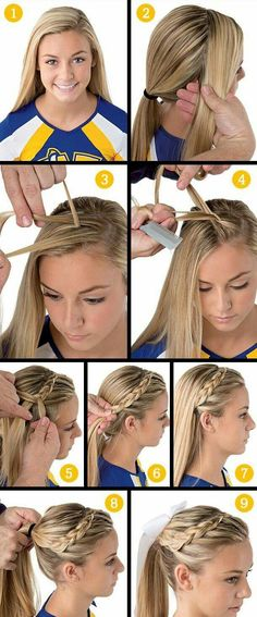 Top School Picture Hairstyles For School Girls School Picture Hairstyles, Girls School Hairstyles, Teen Hairstyles, Braided Hairstyles, Birthday Hairstyles, Braided Ponytail, Volleyball Hairstyles, Sport Hair, Cheer Hair