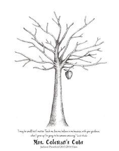 Apple Tree Fingerprint Guest Book Print, Wall Art, Teacher, School, Gift, Graduation, Party, Shower, Birthday, Custom Printable Design