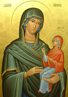 Anna with the Theotokos Byzantine Icons, Byzantine Art, Religious Icons, Religious Art, Mama Mary, Religious Paintings, Holy Mary, Madonna And Child, Blessed Virgin Mary
