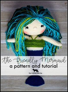 The Friendly Mermaid Crochet Doll- a pattern and comprehensive tutorial! Enough tips and tricks with pictures that even a beginner can manage! Crochet Bear, Crochet Gifts, Cute Crochet, Crochet For Kids, Crochet Dolls, Crochet Animals, Crochet Things, Knitted Dolls, Amigurumi Patterns