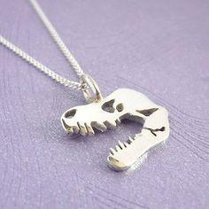 Sterling Silver TREX Skull Pendant by StarbrightSilver on Etsy, $37.00