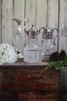Vintage Decanters and Carafe set of 3 Silver Plated Glass Water Into Wine, Retro Christmas, Carafe, Vintage Silver, Wedding Designs, Silver Plate, Rustic, Glass, Tableware