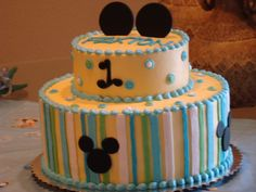 Baby Mickey Mouse birthday cake for Paxton's 1st birthday.