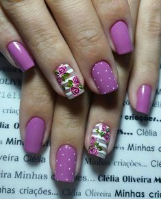 There are so many different nail design ideas you can choose from. Each day manicure artists come up with a different idea and we are always trying to bring the best ones to you, I am… Read Rose Nails, Purple Nails, Flower Nails, Acrylic Nail Designs, Nail Art Designs, Nails Design, Acrylic Nails, Design Art, Quilted Nails