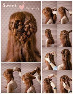 The Most Romantic Hairstyle - Heart Braid - AllDayChic Kawaii Hairstyles, Romantic Hairstyles, Braided Hairstyles For Wedding, Sweet Hairstyles, Medium Hair Braids, Medium Hair Styles, Curly Hair Styles, How To Make Braids, Brown Hair Extensions
